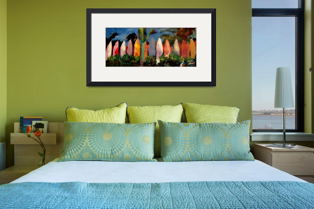 """Beach Scene With Wall Of Surf Boards Hawaii I&quot  (2012) by arthop77"