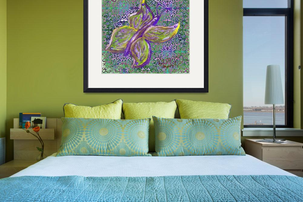 """""""purple and green butterfly with swirly background&quot  (2017) by dlmtleArt"""