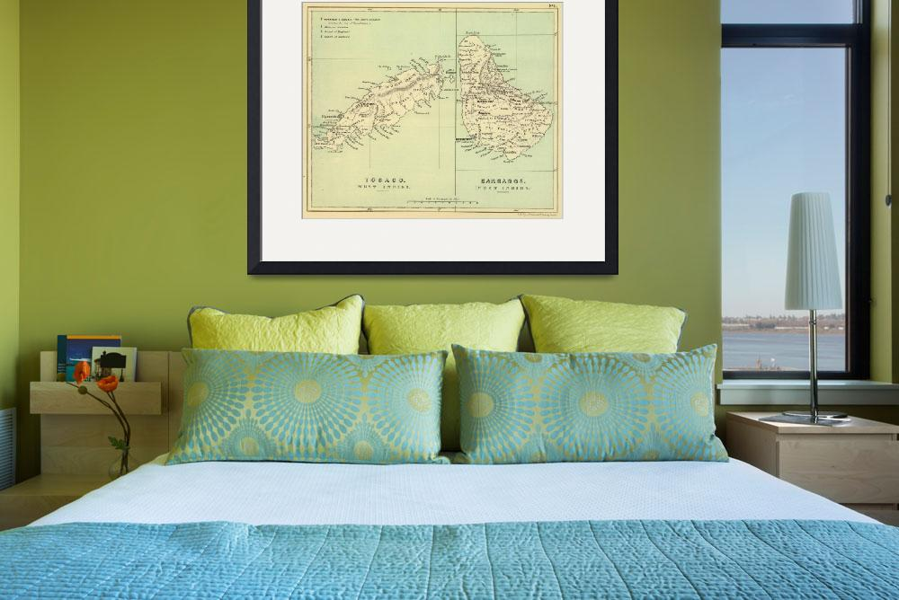 """Vintage Map of Barbados and Tobago (1853)&quot  by Alleycatshirts"