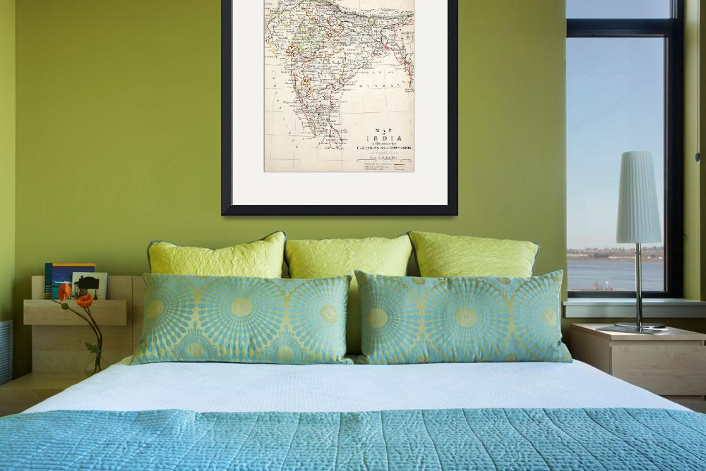 """Antique Map of India&quot  by fineartmasters"