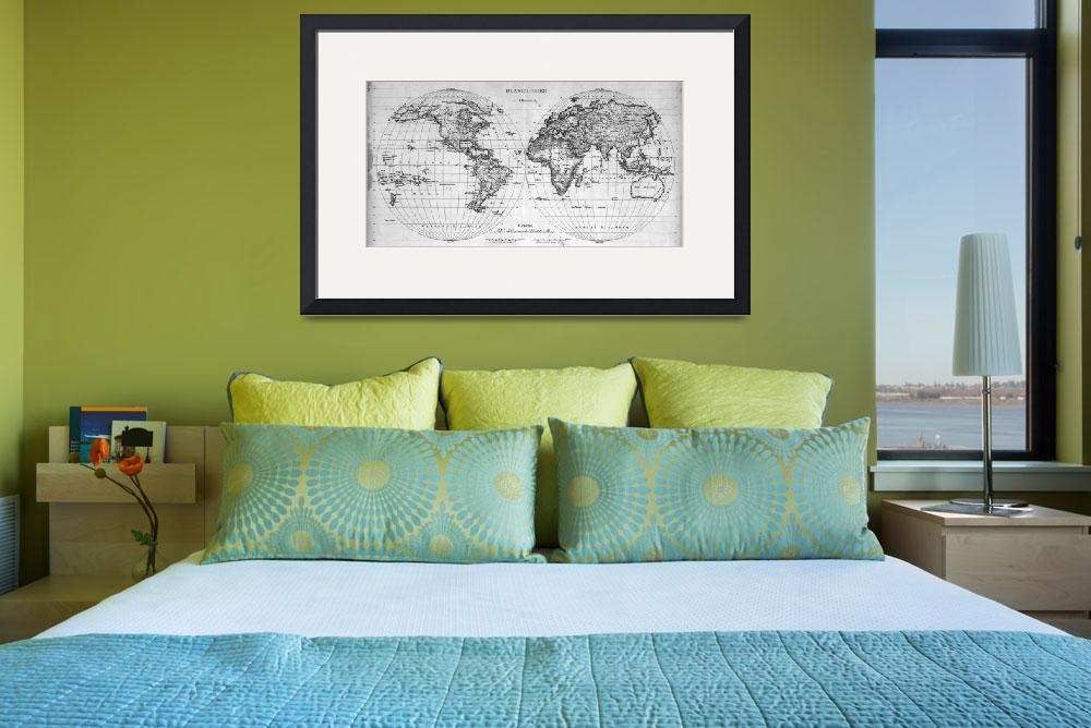 """""""Black and White World Map (1827)&quot  by Alleycatshirts"""