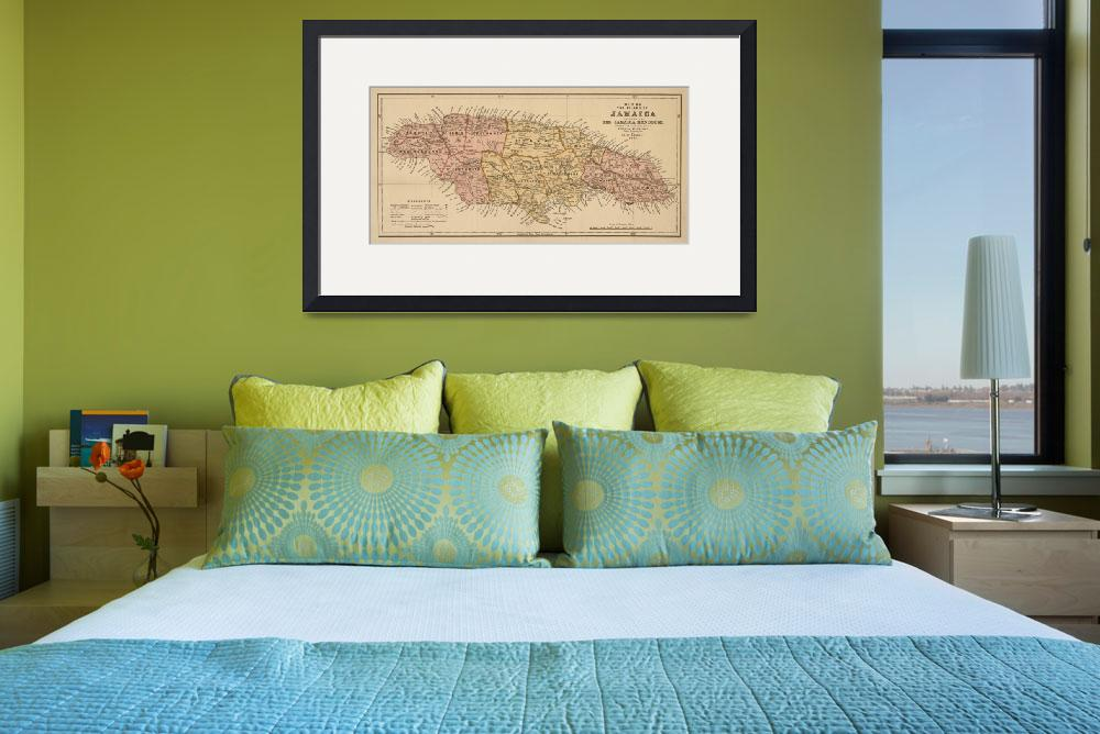 """Vintage Map of Jamaica (1893)&quot  by Alleycatshirts"
