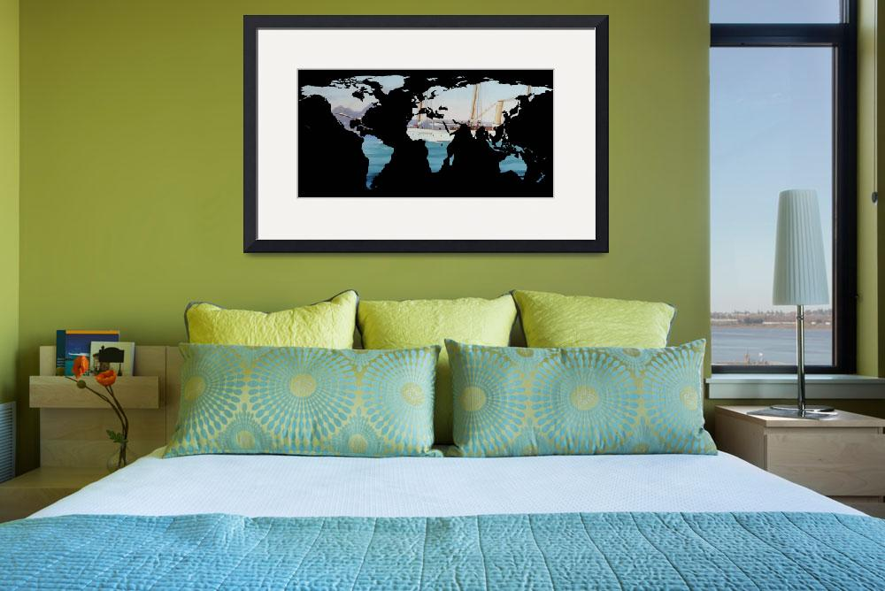 """""""World Map Silhouette - Sailing Round The World&quot  by Alleycatshirts"""