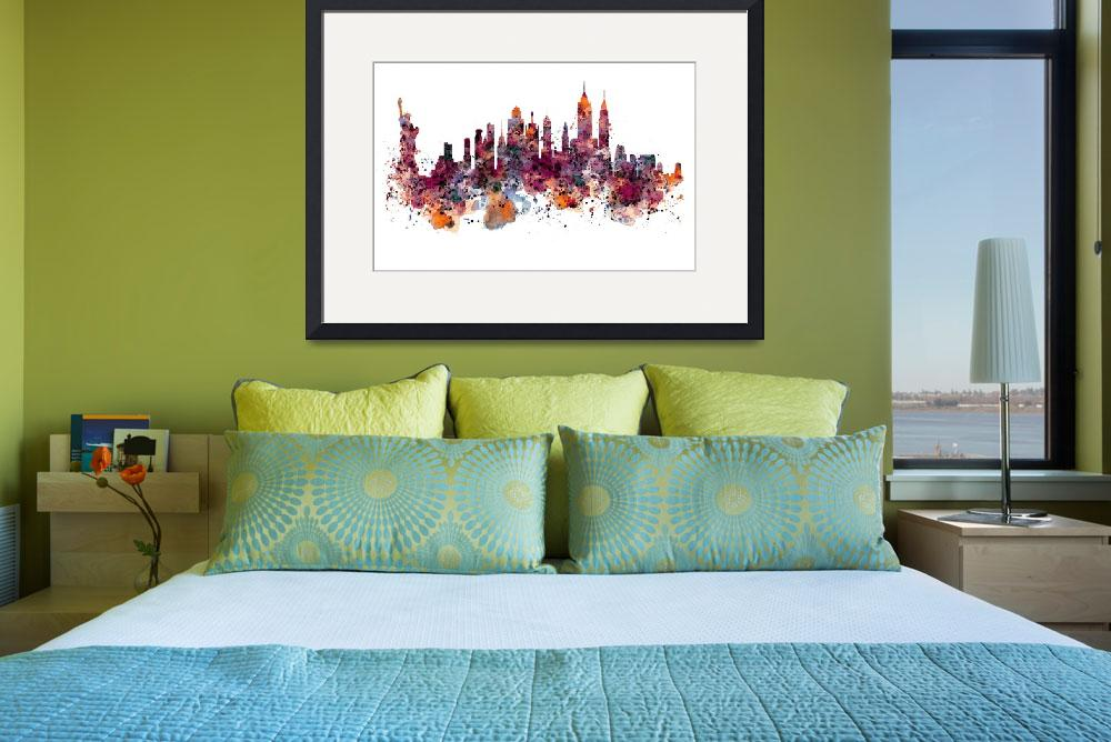 """""""New York Skyline Watercolor&quot  (2015) by MarianVoicu"""