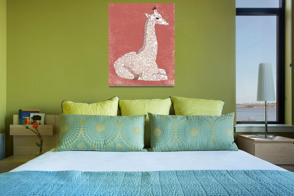 """""""Baby Giraffe in a Coral Color""""  (2014) by Littlepig"""