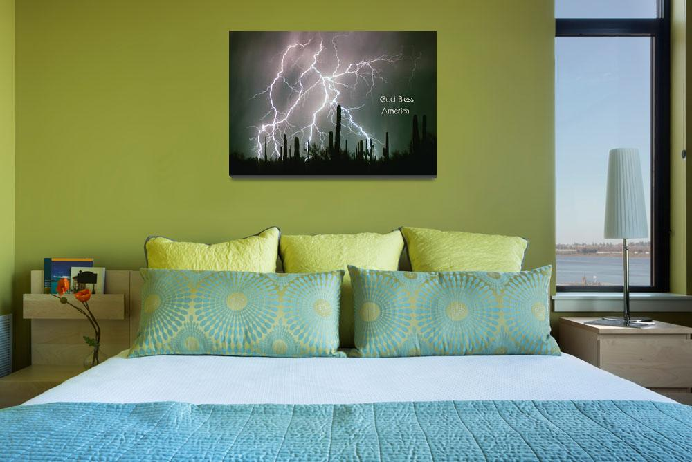 """""""God Bless America Color Lightning Storm in the USA&quot  (2011) by lightningman"""
