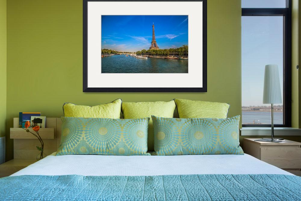"""""""Eiffel Tower Along the Seine""""  (2015) by KWphotog"""