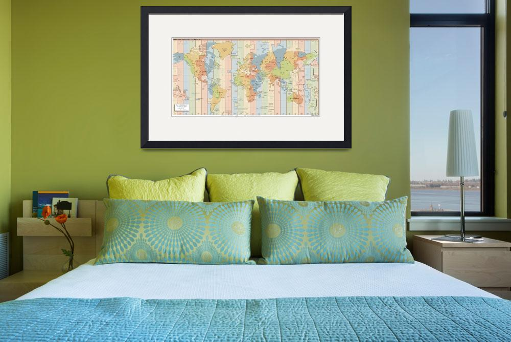 """""""World Time Zone Map&quot  by Alleycatshirts"""