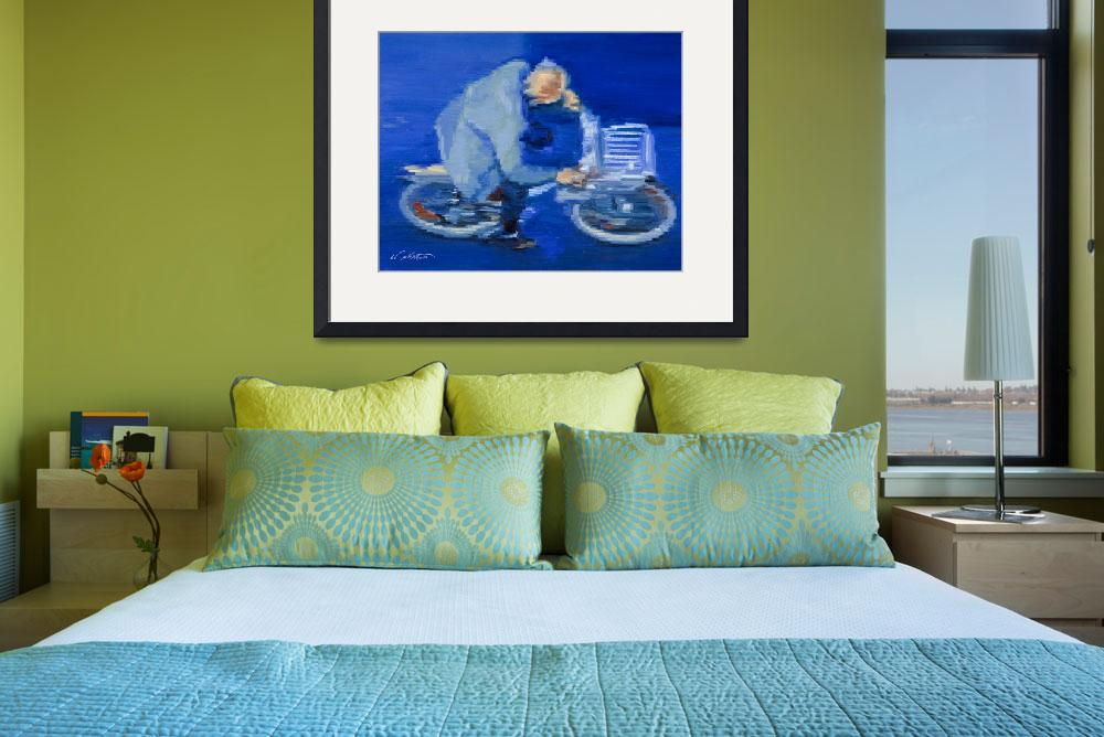 """""""Old Man Cycling In Paris Fine Art Giclee Print""""  (2009) by KeatingArt"""