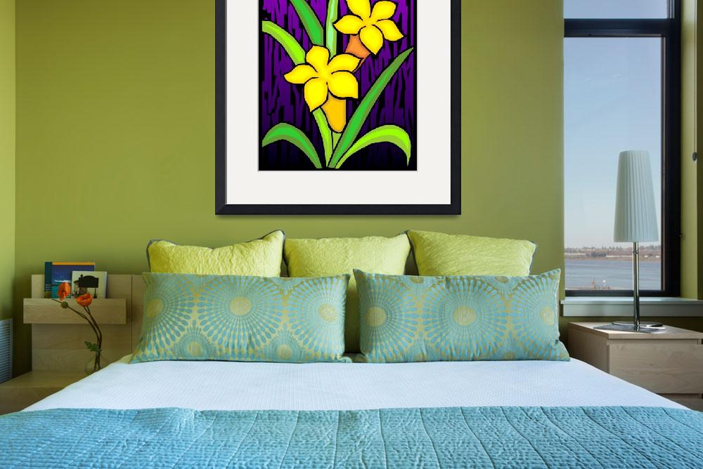 """""""Digital painting of flower in colour background&quot  (2009) by digitalpainting"""