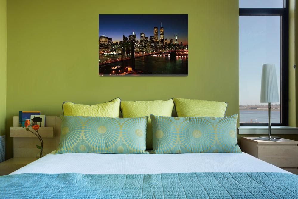 """""""Brooklyn Bridge and Manhattan Skyline, NYC""""  (1998) by Kliman"""