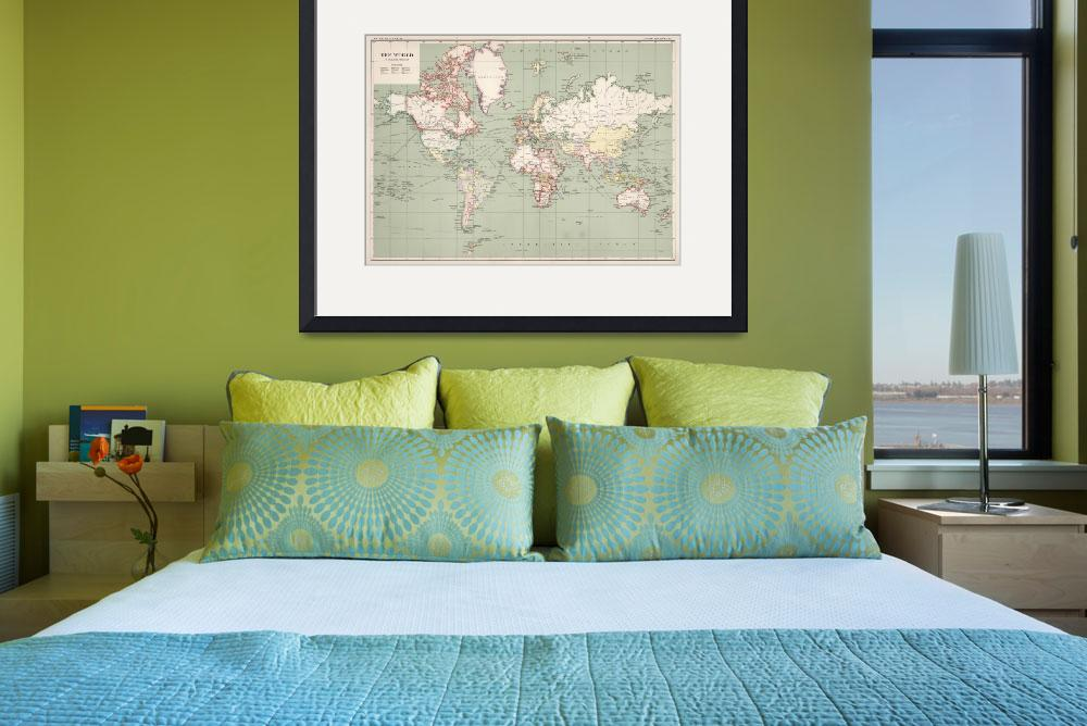 """Vintage Map of The World (1915)&quot  by Alleycatshirts"