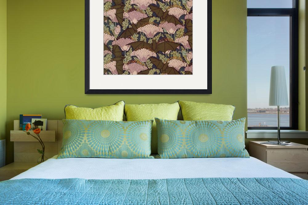 """""""Vintage Art Deco Bat and Flowers&quot  by Alleycatshirts"""