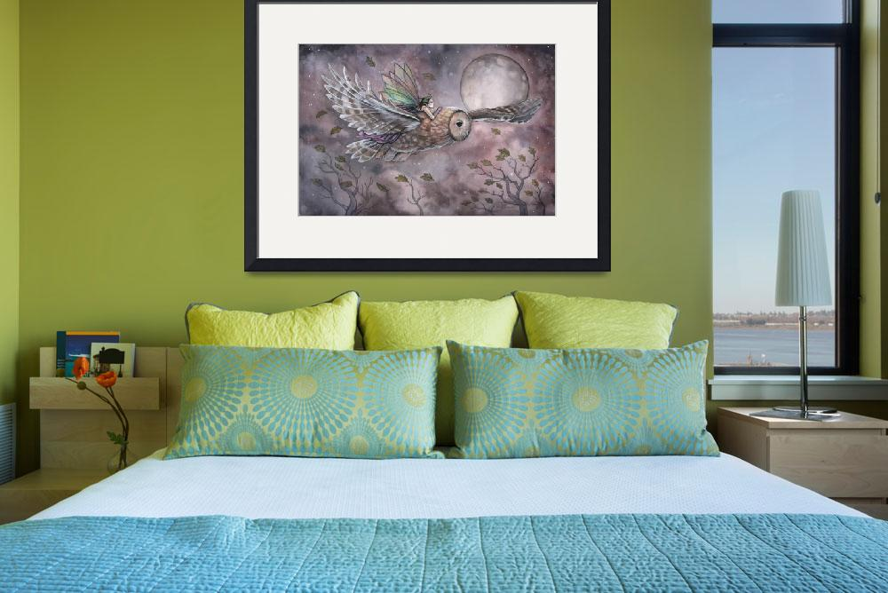 """""""Soaring Fairy and Owl Fantasy Art Print by Molly H&quot  (2012) by robmolily"""