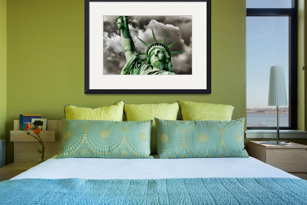 """Lady Liberty braces against a turbulent sky Poster&quot  by New-Yorkled"