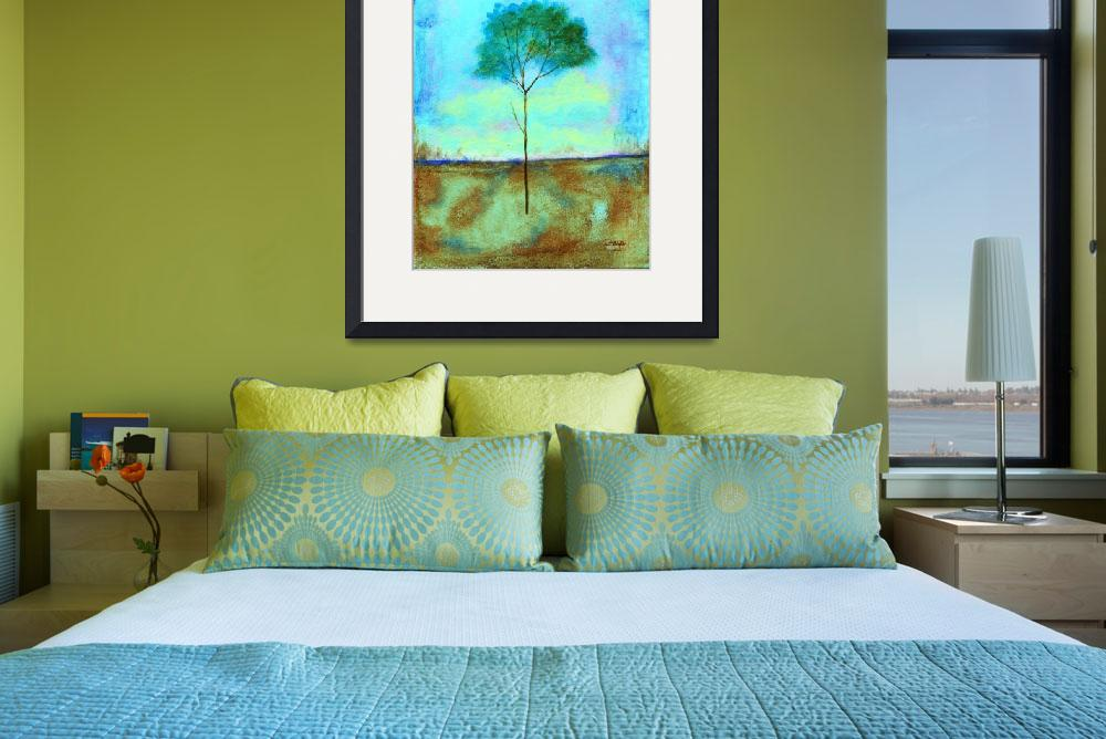 """""""Individual Lone Skinny Tree Abstract Landscape Art&quot  (2009) by Itaya"""