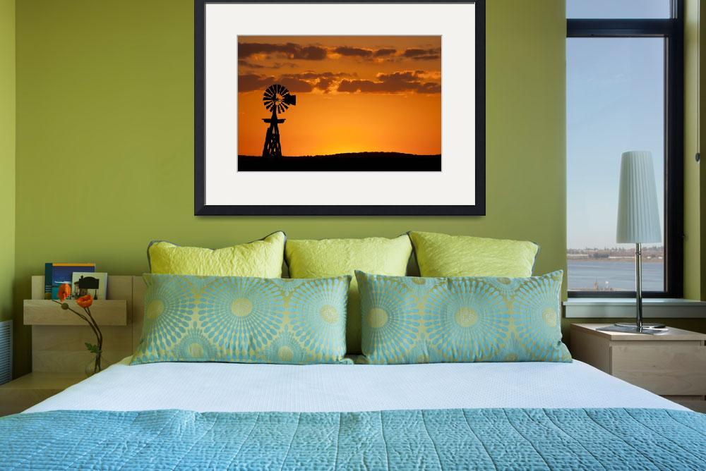 """""""Windmill Sunset: Texas Hill Country""""  (2011) by PaulHuchton"""