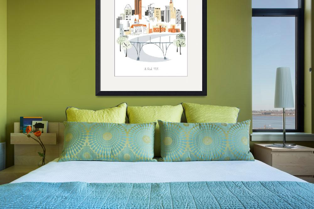 """""""St Paul Modern Cityscape Illustration&quot  by AlbieDesigns"""