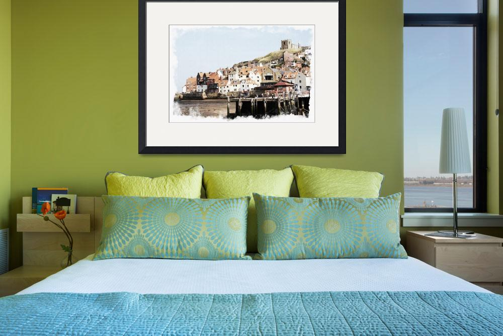 """Digital Watercolor of Whitby Harbour N.E England&quot  (2008) by Andrewlane"