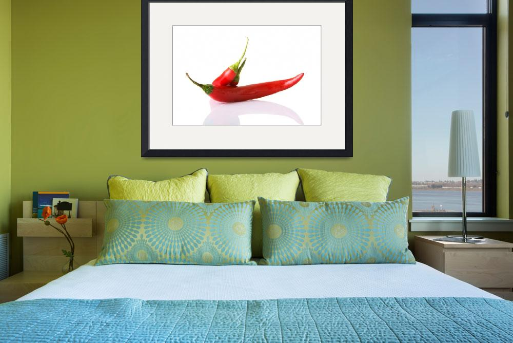 """""""Red hot chilie peppers, isolated on white""""  by Piotr_Marcinski"""