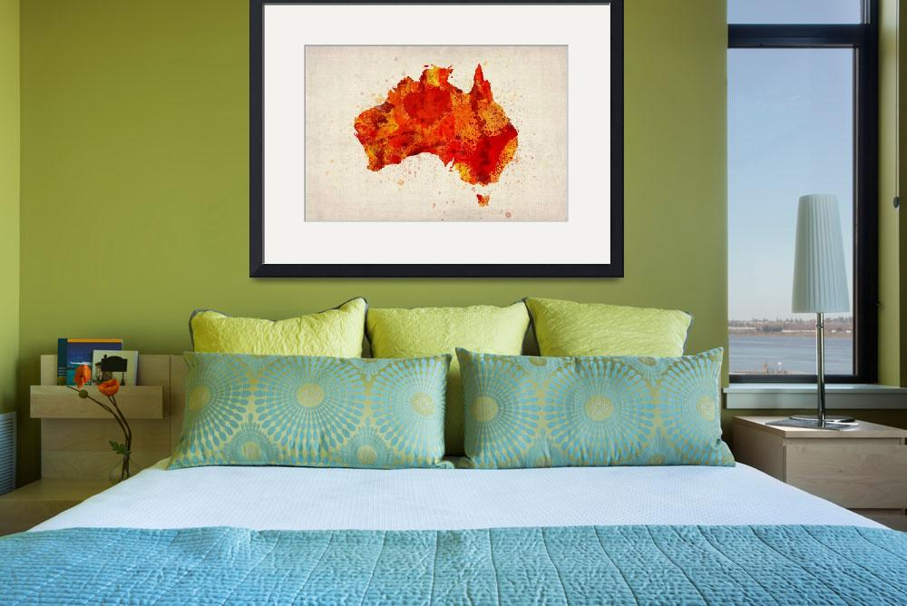 """Australia Watercolor Map Art Print&quot  (2012) by ModernArtPrints"