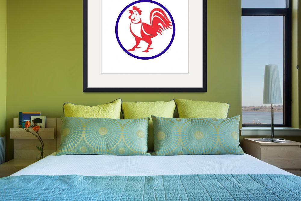 """""""Chicken Rooster Crowing Circle Retro&quot  (2016) by patrimonio"""