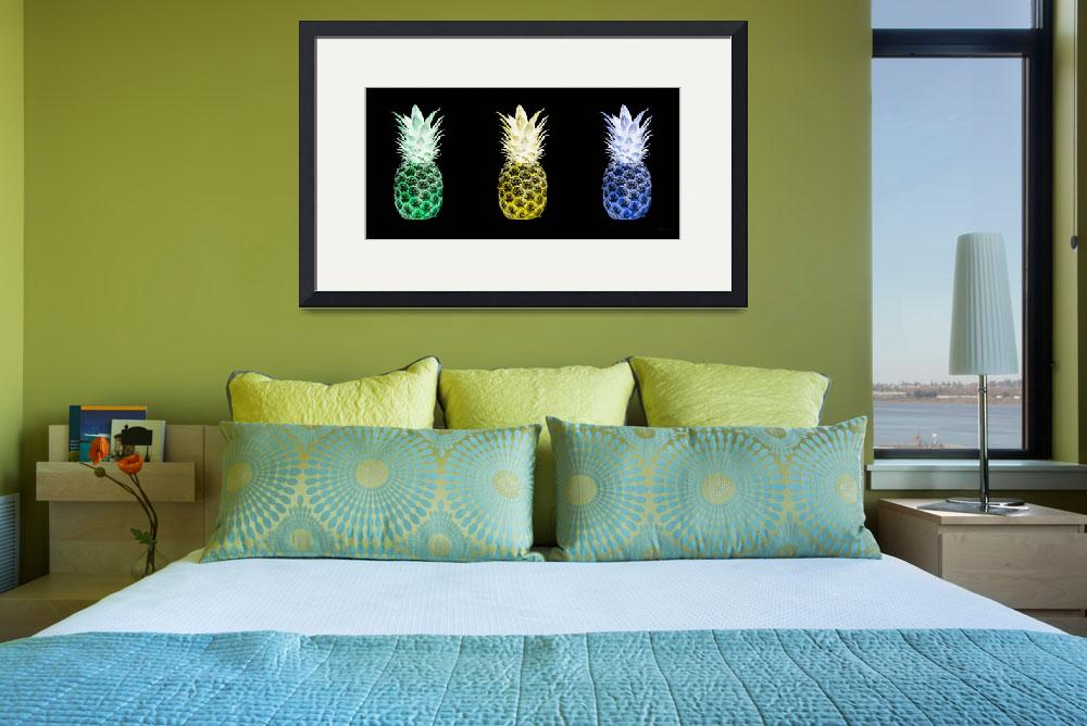 """Triptych 14V Artistic Pineapple Green Yellow Blue&quot  (2016) by Ricardos"