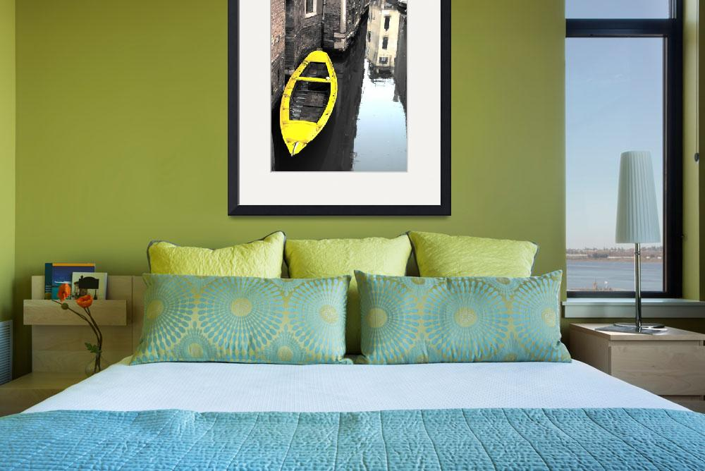 """""""Yellow Boat, Venice&quot  (2008) by Shutterstitch"""