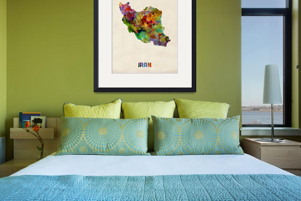 """Iran Watercolor Map""  (2013) by ModernArtPrints"