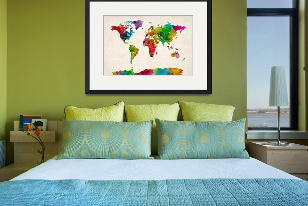 """Watercolor Map of the World Map&quot  (2012) by ModernArtPrints"