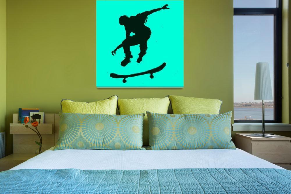 """Skateboarder 3 . tan green (c)""  (2014) by edmarion"