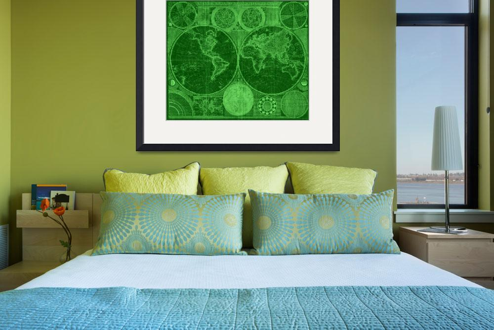 """""""World Map (1794) Green & Light Green&quot  by Alleycatshirts"""