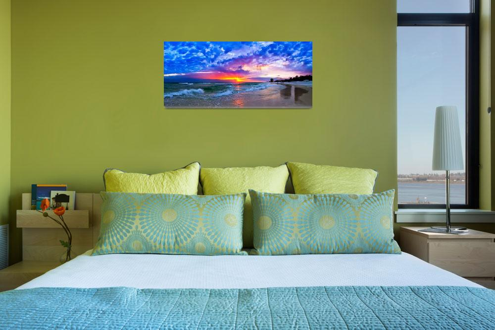 """""""Amazing Beach Sunset Panorama-Waves Blue Clouds&quot  (2014) by eszra"""
