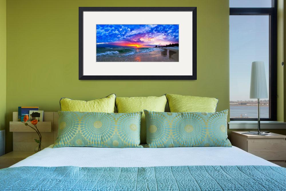 """Amazing Beach Sunset Panorama-Waves Blue Clouds&quot  (2014) by eszra"