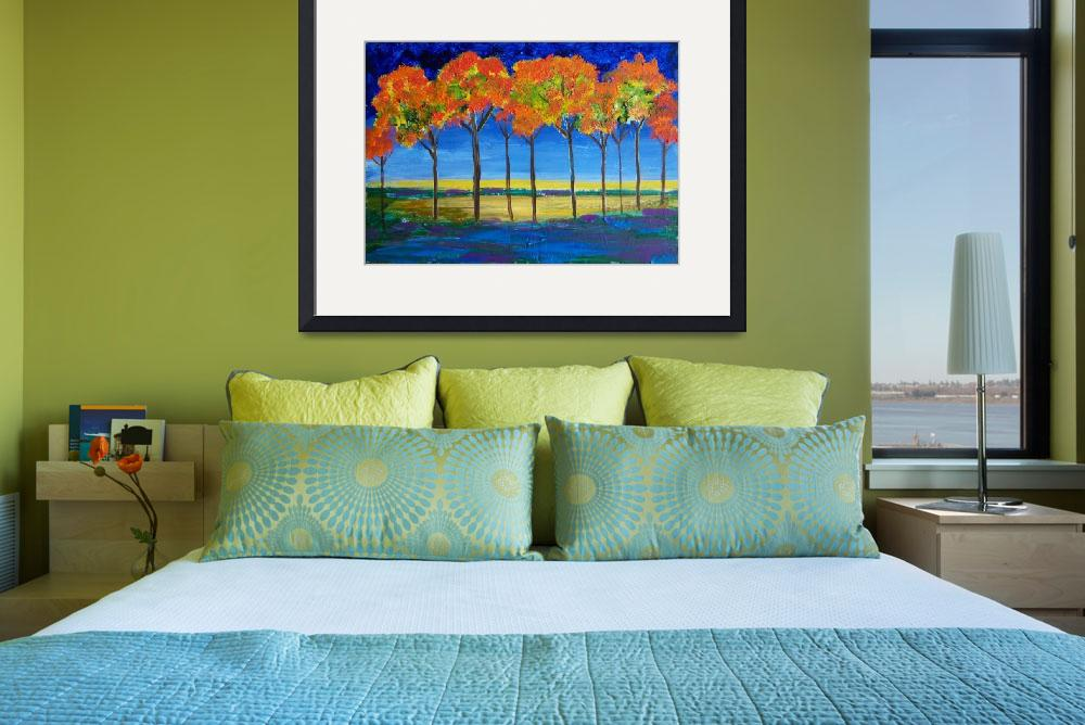 """Expressionist Trees at Dawn&quot  (2008) by reneefauvestudio"
