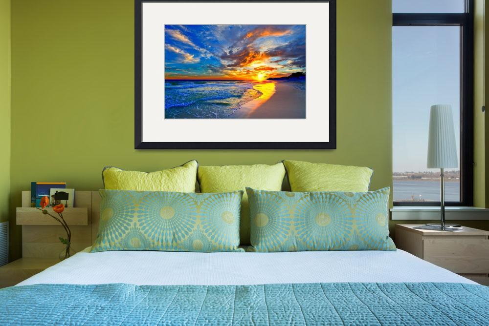 """""""amazing red blue sunset beach canvas prints""""  (2014) by eszra"""