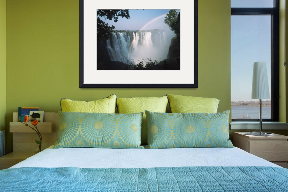 """Rainbow In Front Of Victoria Falls Zimbabwe&quot  by DesignPics"