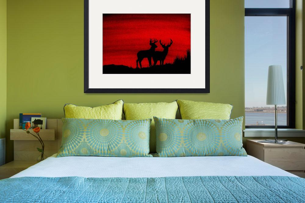 """""""Whitetail Deer at Sunset""""  (2009) by vigliotti"""