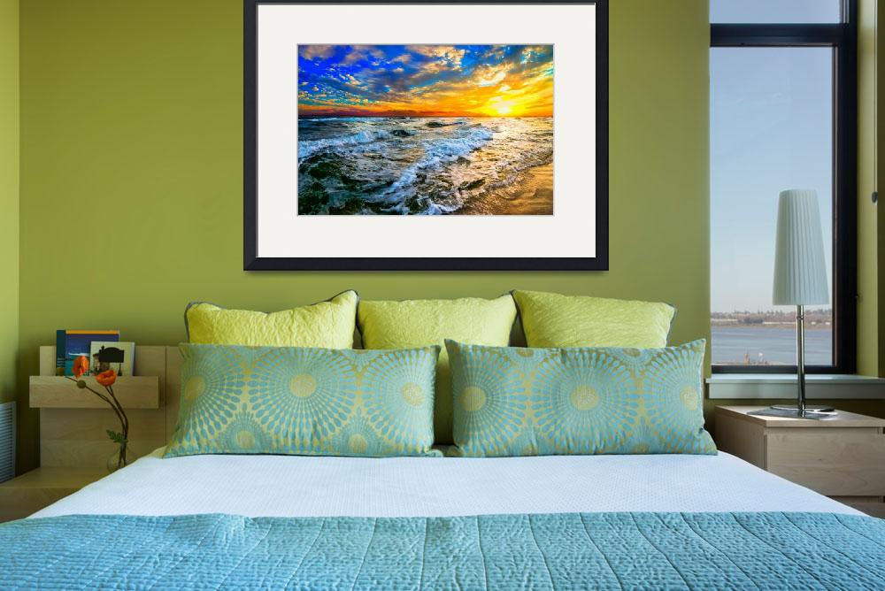"""yellow orange blue colorful ocean sunset prints&quot  (2014) by eszra"