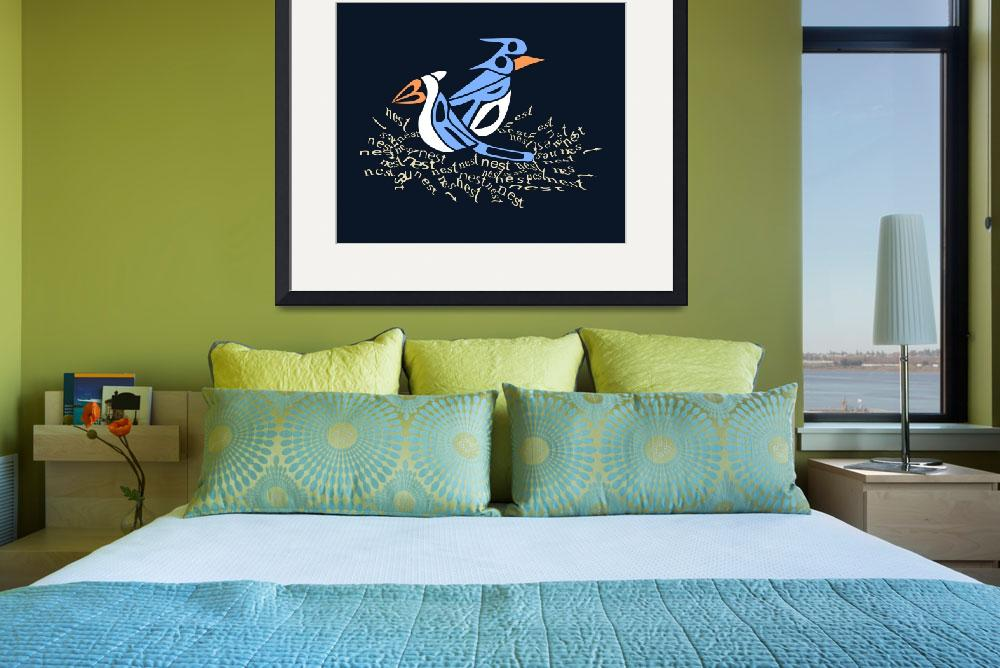 """Text Me Blue Bird - Design made entirely of text&quot  (2008) by kristensteinfineart"