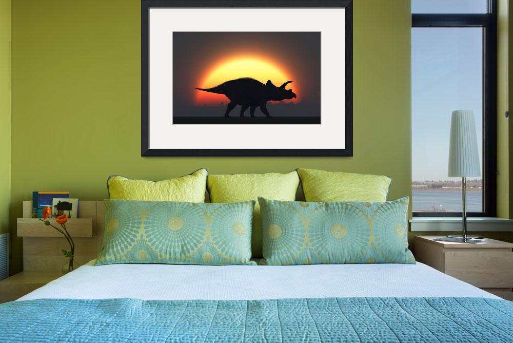 """""""A silhouetted Triceratops strolling past a setting&quot  by stocktrekimages"""