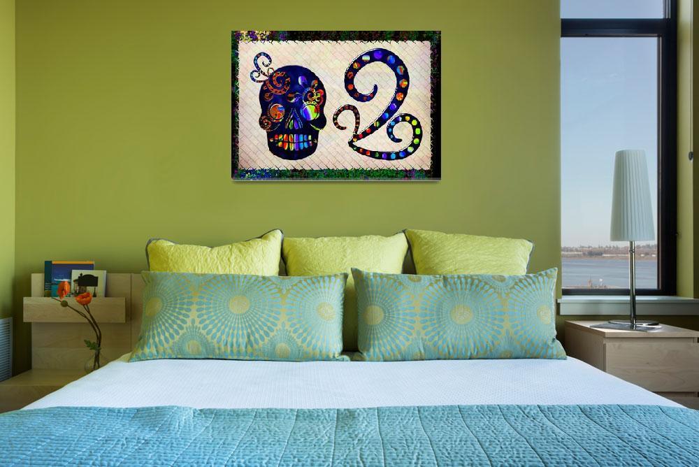 """Mexican Skull Festive Folk Art&quot  (2013) by ReneeLozenGraphics"