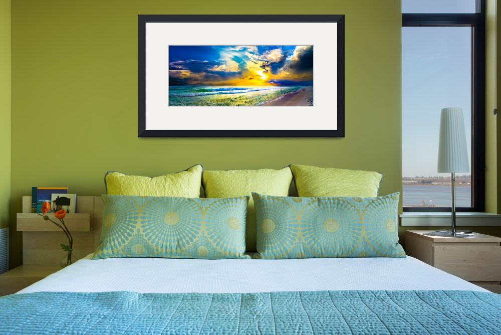 """beach sunset panorama yellow sunset sky art prints&quot  (2014) by eszra"