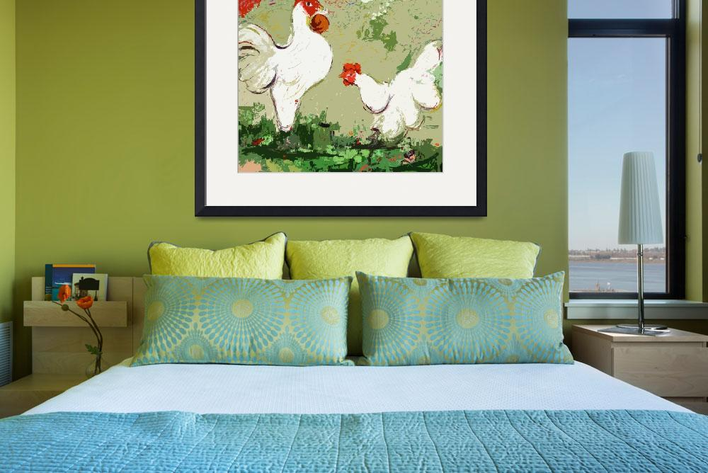 """White Rooster and Hen Courtship Origidigi&quot  (2012) by GinetteCallaway"