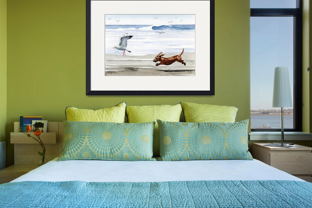 """""""Dachshund at the Beach chasing seagull&quot  (2015) by k9artgallery"""