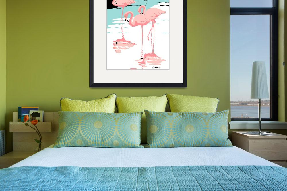 """""""Pink Flamingos tropical abstract pop art Landscape&quot  (1985) by walt-curlee"""