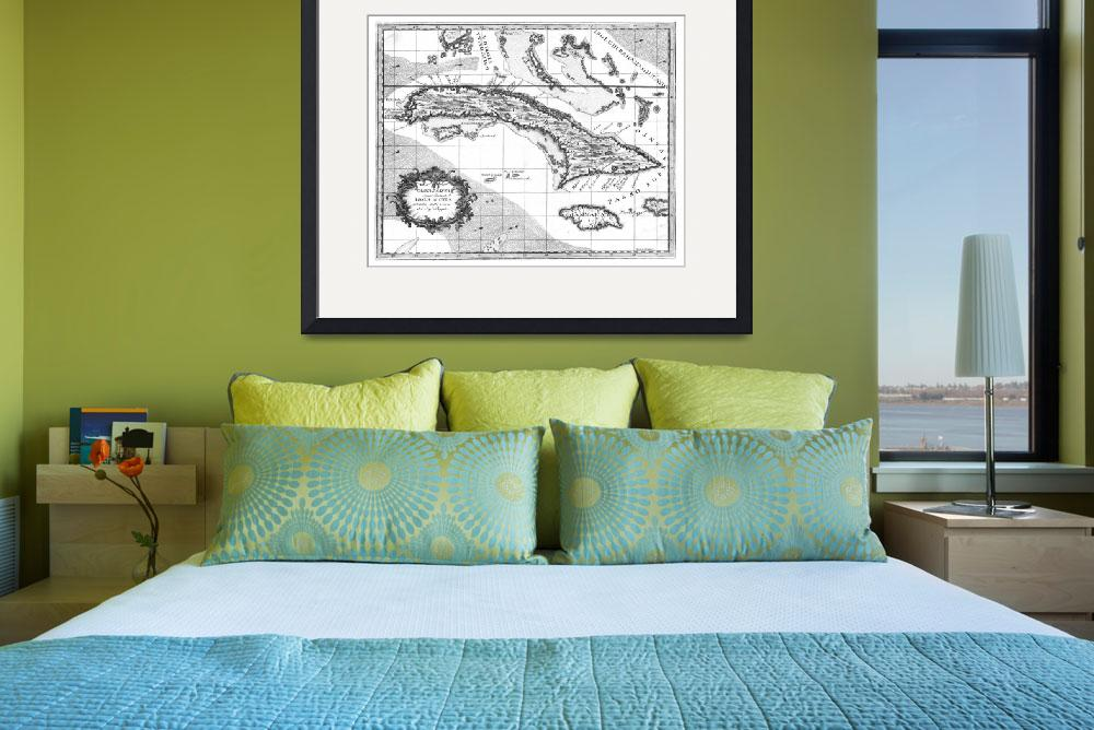 """""""Vintage Map of Cuba and Jamaica (1763) BW""""  by Alleycatshirts"""