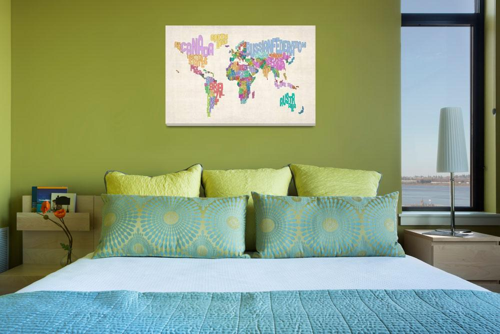 """Text Map of the World Map&quot  by ModernArtPrints"