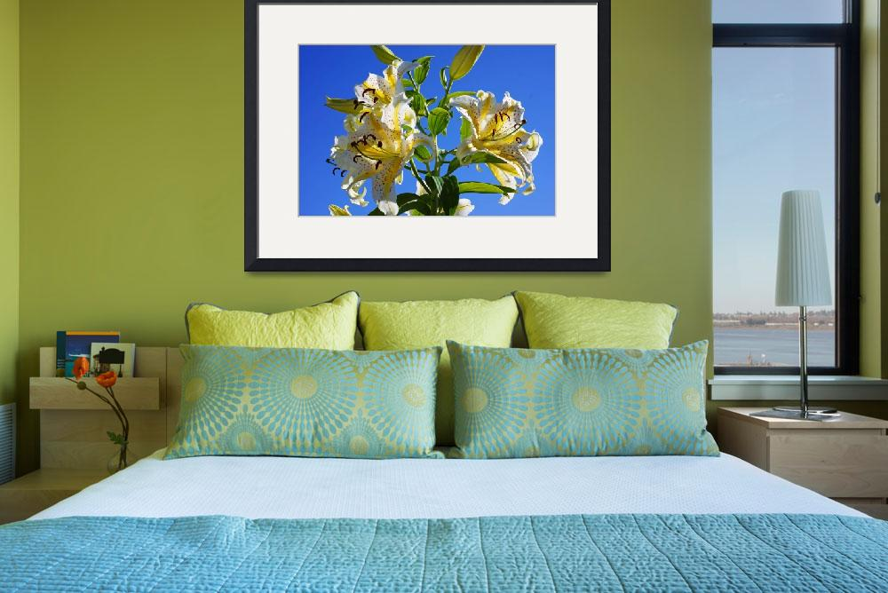 """Lilies Flowers Floral Art Prints blue Sky Yellow L&quot  (2014) by BasleeTroutman"