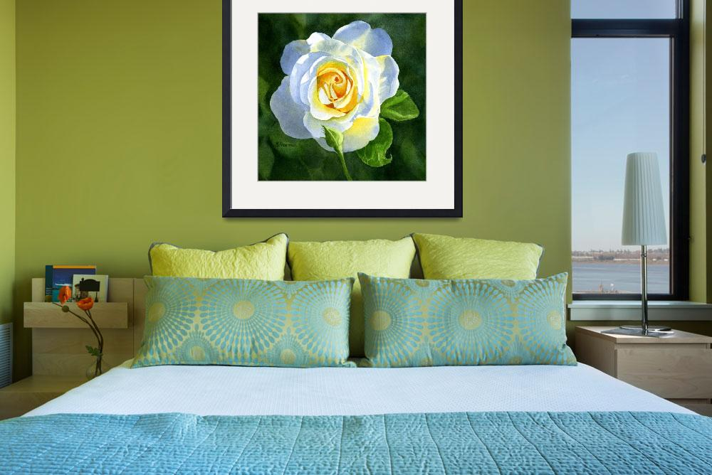 """""""White Rose with Bud&quot  (2014) by Pacific-NW-Watercolors"""